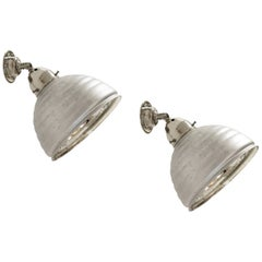 Pair of Functionalist Wall Lights in Glass, 1930s