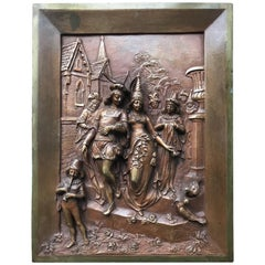 Late 1800s Bronze Wall Plaque by Leon Perzinka, Depicting Marriage Scene/Party