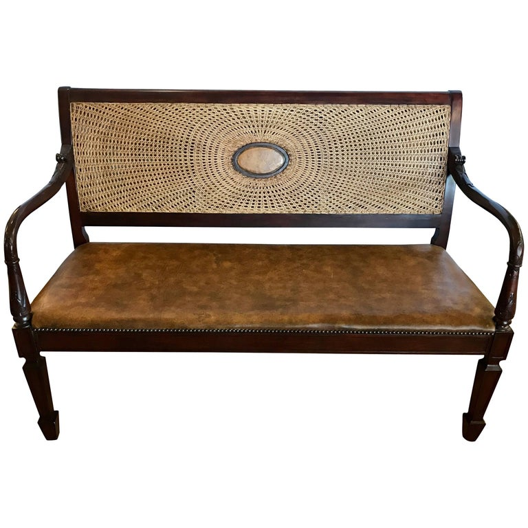 British Colonial Leather And Cane Back Bench Settee