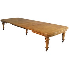 Early Victorian Extra Wide Oak Dining Table and Six Leaves, Seats 18