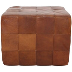 De Sede Cognac Patchwork Leather Cubus Stool, 1970s, Switzerland