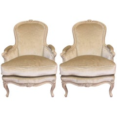 Pair of French Louis XV Style Painted Bergere Chairs with Grey Velvet Fabric