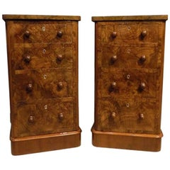 Good Pair of Victorian Period Burr Walnut Antique Bedside Cabinets