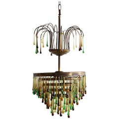1920s French Waterfall Chandelier with Contemporary Glass Teardrops