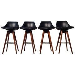 Danish Modern Style Barstools by John Yellen, Mid-Century Modern, Set of Four