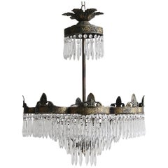 Early 20th Century Brass Petal Waterfall Chandelier