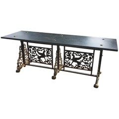 Oscar Bach Style Slate Top Wrought Iron and Bronze Bench