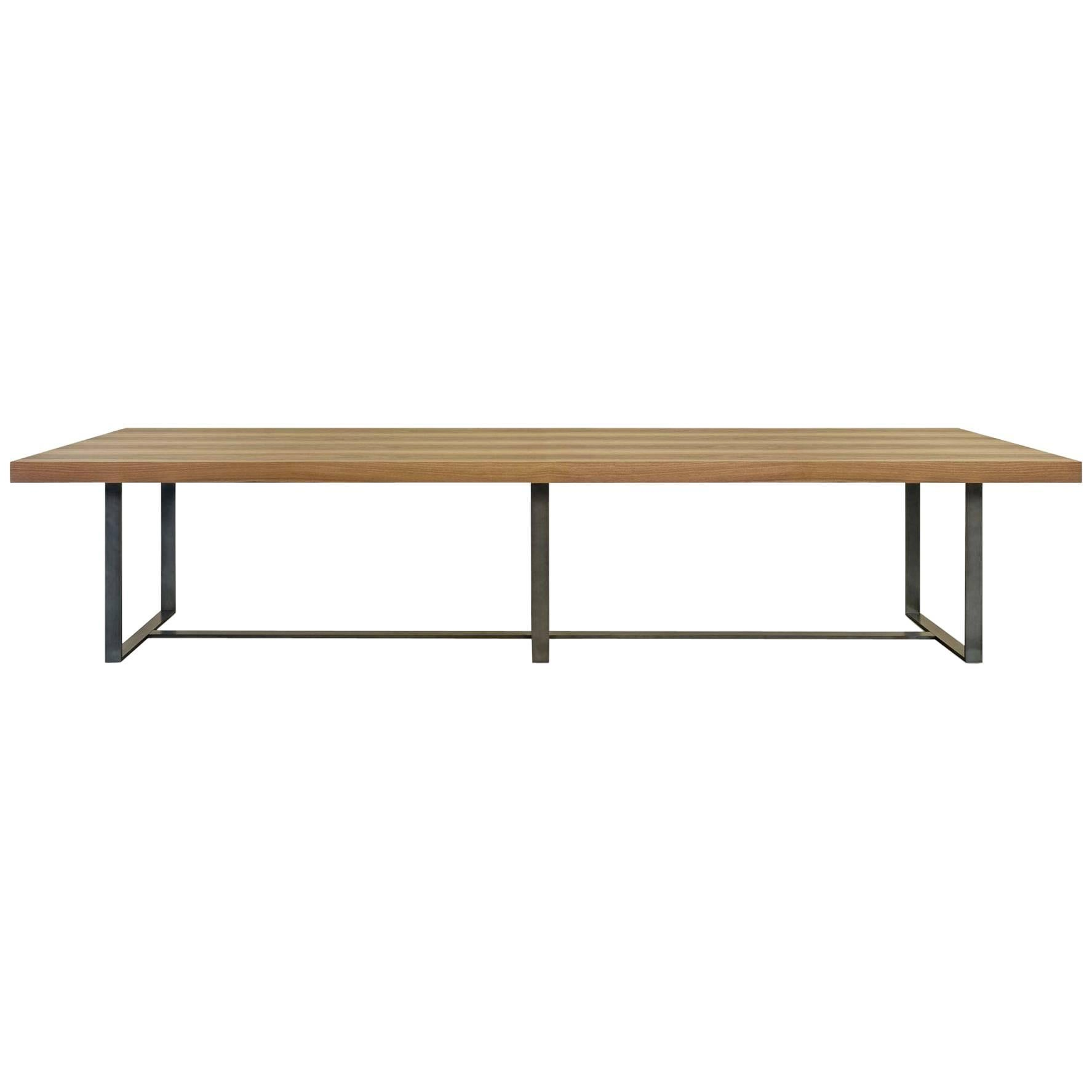 """""""Brown"""" Wooden Top and Metal Base Conference Table by S. Lebrun for Dessie'"""