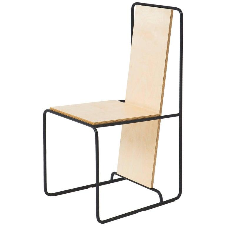 Line Chair 'Oak veneer and Metal structure' - Gerrit Rietveld inspiration