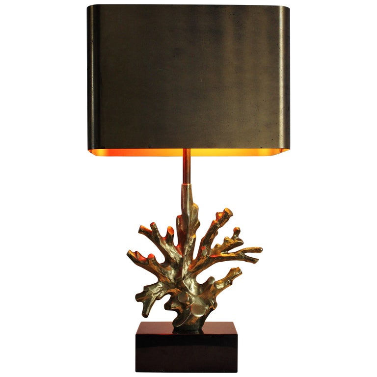 """Mid - Century Signed Bronze Table Lamp """"Coral"""" by Maison Charles, France, 1970s"""