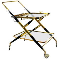1950s Bar Cart by Cesare Lacca, Stained Mahogany and Brass, Italy