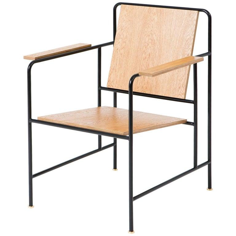 M Armchair 'Oak veneer and Metal structure' - Le Corbusier inspiration For Sale