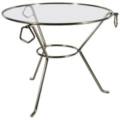 1950´s Small Round Tripod Table, Nickel Plated Brass, Glass, Rings, France