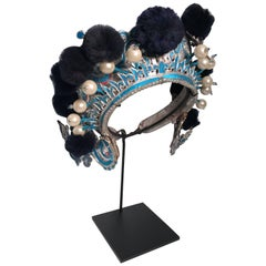 Vintage Chinese Theatre Headdress in Turquoise with Midnight Blue Pom Poms