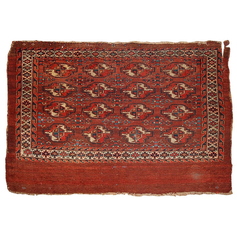 Antique Turkoman Rug: Handmade Antique Collectible Turkoman Yomud Rug, 1880s For
