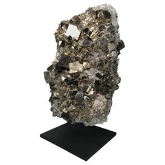"Mounted Pyrite Mineral Specimen ""Fools Gold"" with Quartz Inclusions from Peru"