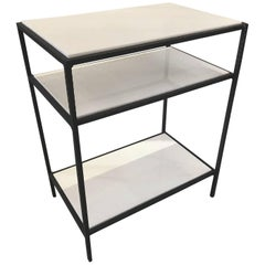 French Three-Tiered Midcentury White Glass and Iron Side Table