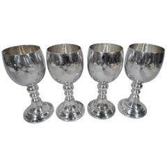 Set of Four Buccellati Hand-Hammered Sterling Silver Goblets