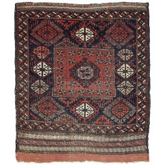 Handmade Antique Collectible Afghan Baluch Rug, 1880s