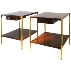 Maison Charles Bed Side Tables, Lacquered Wood and Brass, 1960s