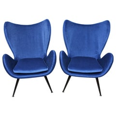 Pair of Blue Velvet Armchairs from the 1960`s Italian Style