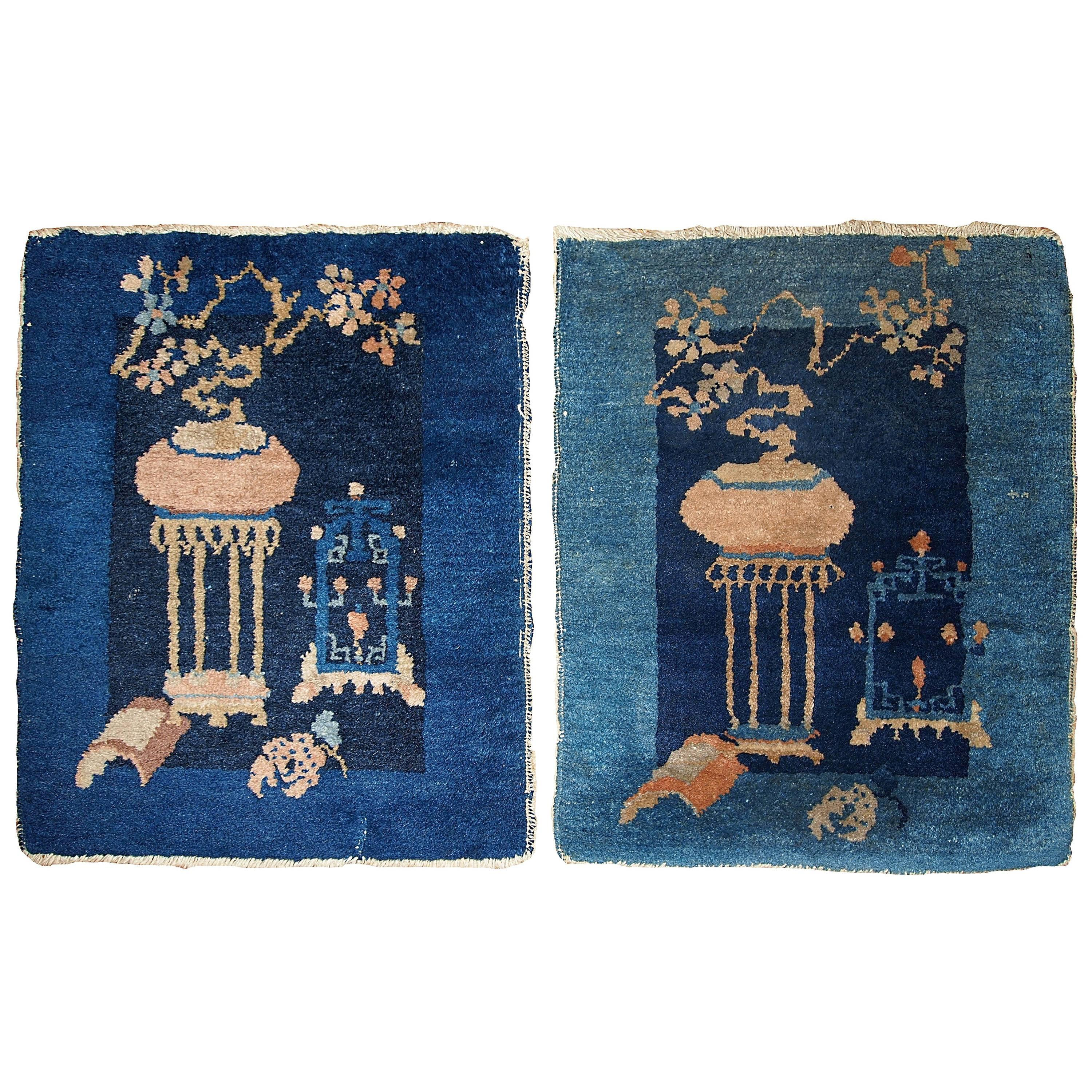 Handmade Antique Collectible Pair of Peking Chinese Rugs, 1870s, 1B327