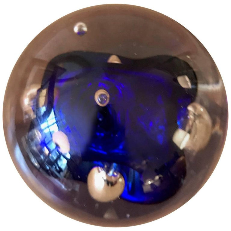 Murano Art Glass Round Paperweight with Cobalt Blue Inclusions For Sale