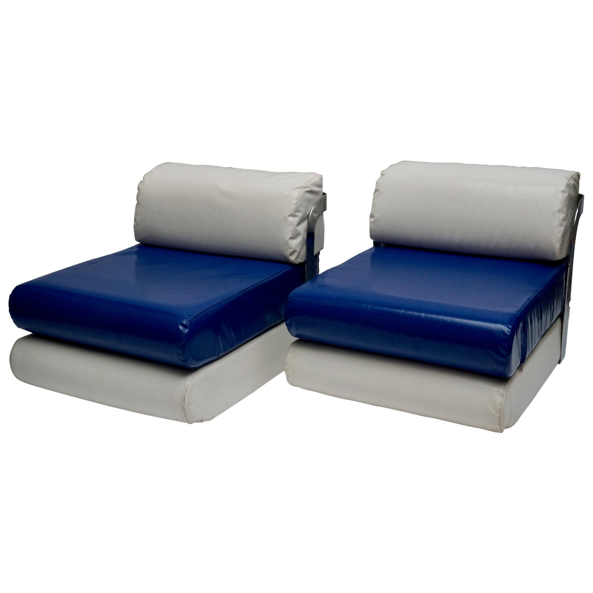 Two Italian Lounge Chairs in Blue and White