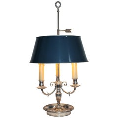 French Empire Style Silvered Bronze and Tole Bouillotte Lamp
