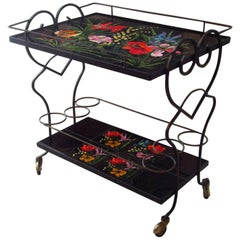 Midcentury Bar Cart Tiles and Wrought Iron, Vallauris France, 1950s