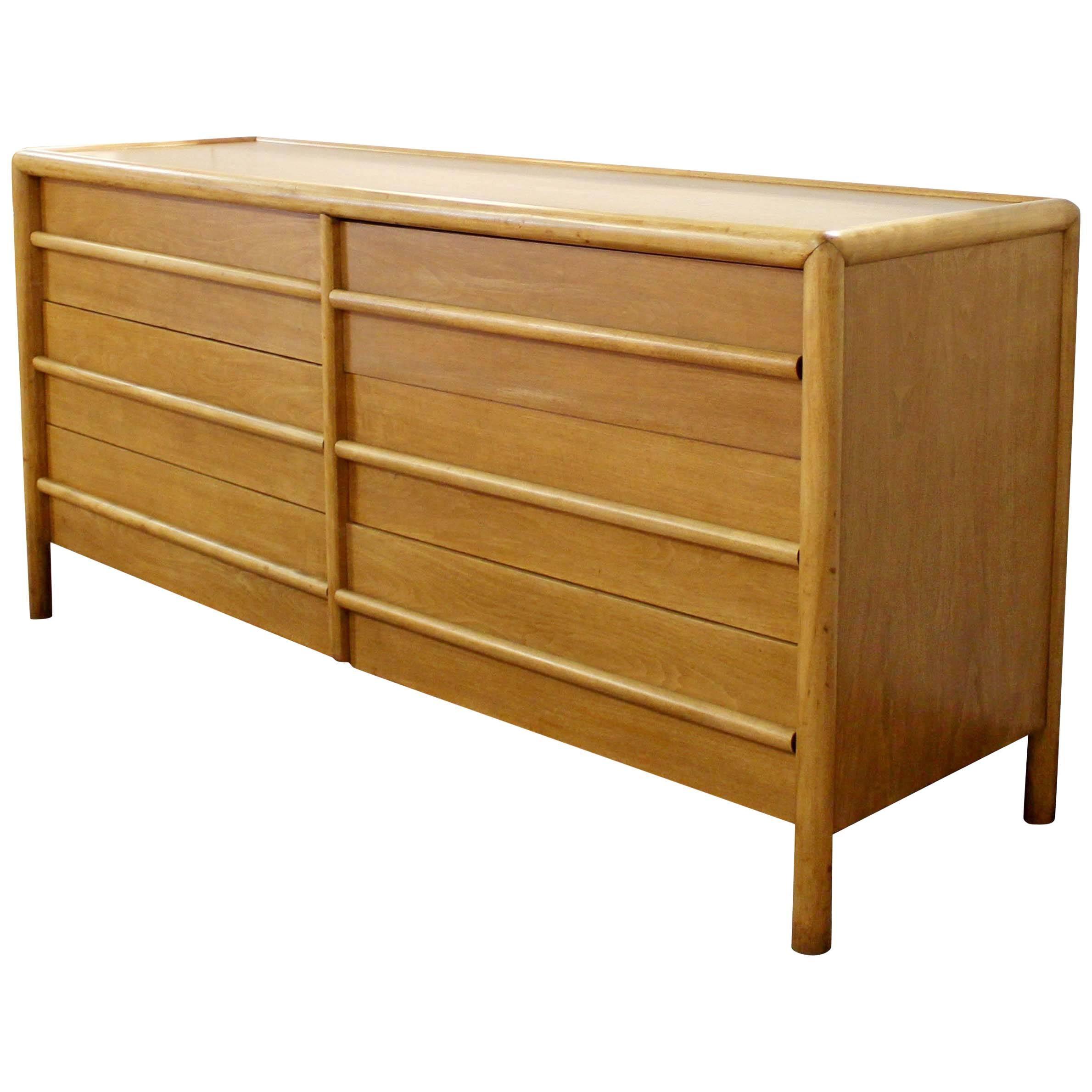 Mid Century Modern Robsjohn Gibbings For Widdicomb Six Drawer Walnut Dresser
