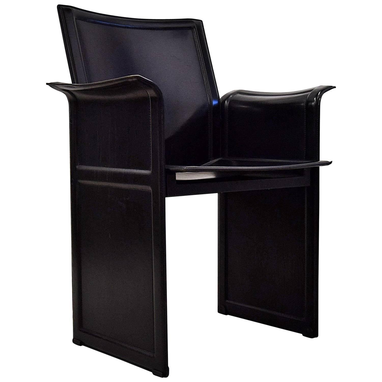Tito Agnoli Leather Korium Armchair For Matteo Grassi For Sale
