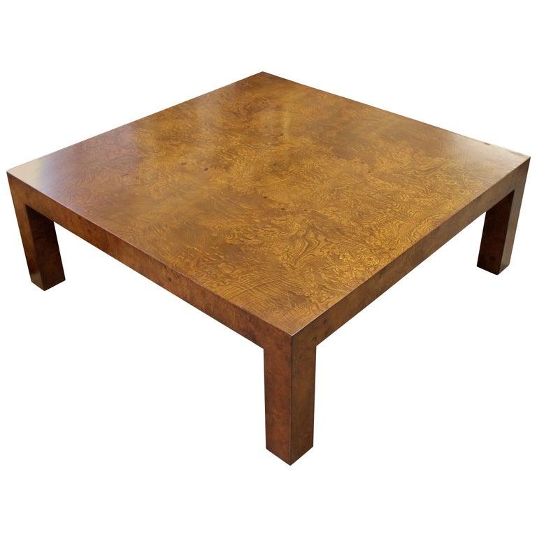 Solid Chrome Coffee Table: Mid-Century Modern Milo Baughman Solid Burl Wood Parson