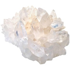 Organic Rock Crystal Gem Quartz Sphere & Cluster Matrix Specimen Sculpture