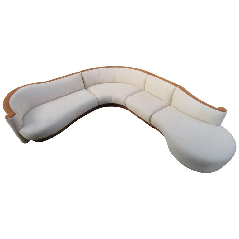 Vladimir Kagan Style Four-Piece Curved Serpentine Sectional Sofa Weiman