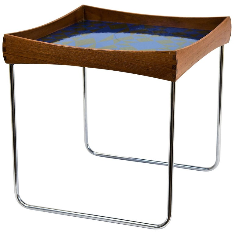 Enamel Tray Coffee Table: Norwegian Conform Tray Table With Enamel Top By Hermann