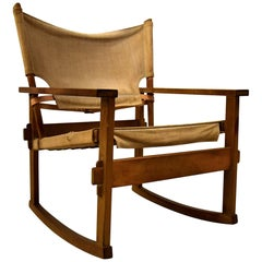 Rare Midcentury Poul Hundevad Safari Rocking Chair