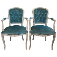 Maison Jansen Style Louis XV French Armchairs Teal Bleu Tufted Velvet
