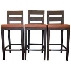 ON SALE!!! 3 Madison Barstools by Desiron Black Walnut Steel Kravet Faux Leather