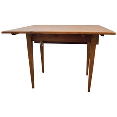 Fabulous Petite Rustic French Farmhouse Table Reclaimed Pine Drop-Leaf