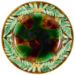 English Majolica Mottled Tortoiseshell Cheese Tray, Buttercup & Fern Leaf Border