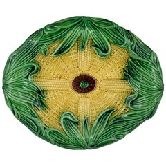 19th Century Adams & Bromley English Majolica Yellow & Green Corn Platter