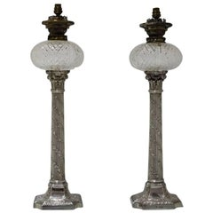 Pair of Large Antique Victorian Sterling Silver Lamps Horace Woodward & Co Ltd