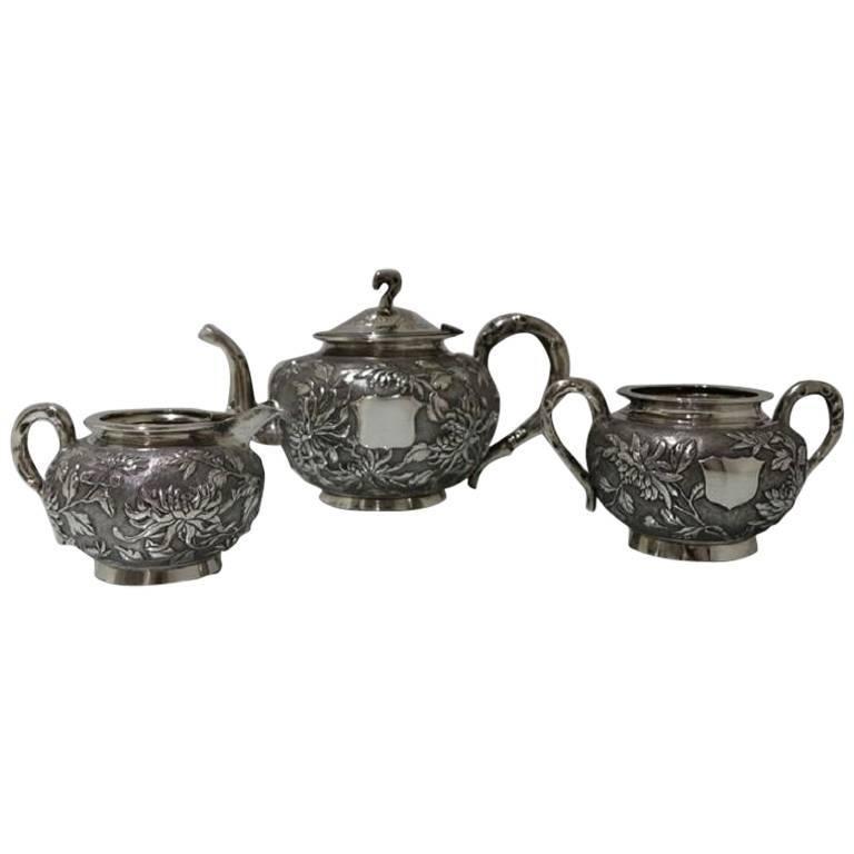 Antique Silver Chinese Three-Piece Tea Set, Hong Kong, circa 1900 For Sale