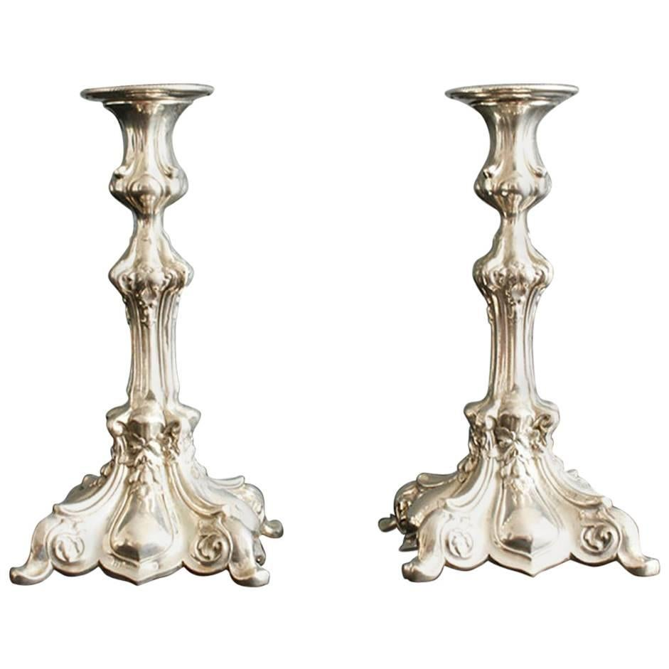 Pair of Sterling Silver Candleholders