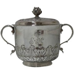 William & Mary Antique Sterling Large Silver Porringer and Cover