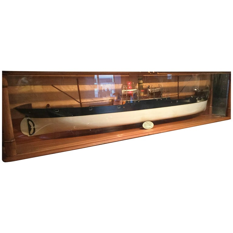 Large Antique Steamship Model 19th Century Cased