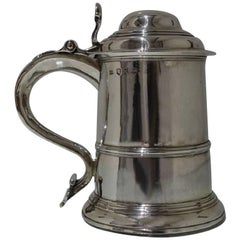 George II Antique Sterling Silver Tankard and Cover Fuller White