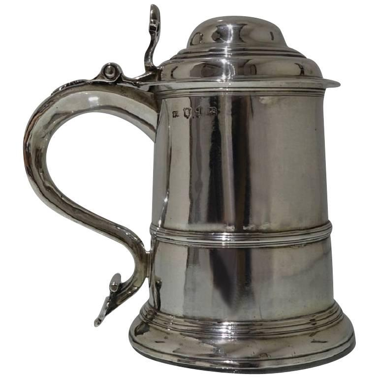 George II Antique Sterling Silver Tankard and Cover Fuller White For Sale