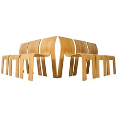 Set of Six Dutch Stackable Strip Chairs by Gijs Bakker for Castelijn, 1974